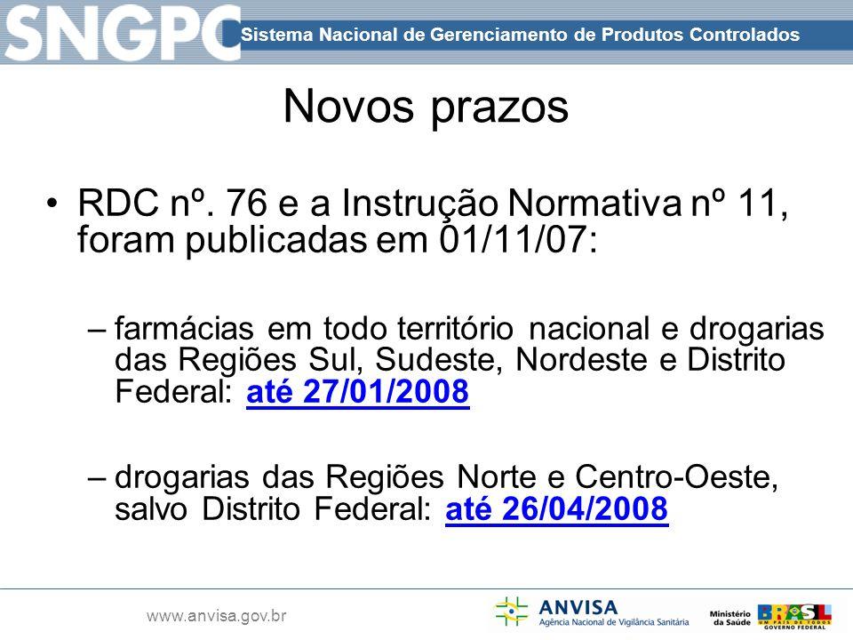 Novos prazos RDC nº. 76 e a Instrução Normativa nº 11, foram publicadas em 01/11/07: