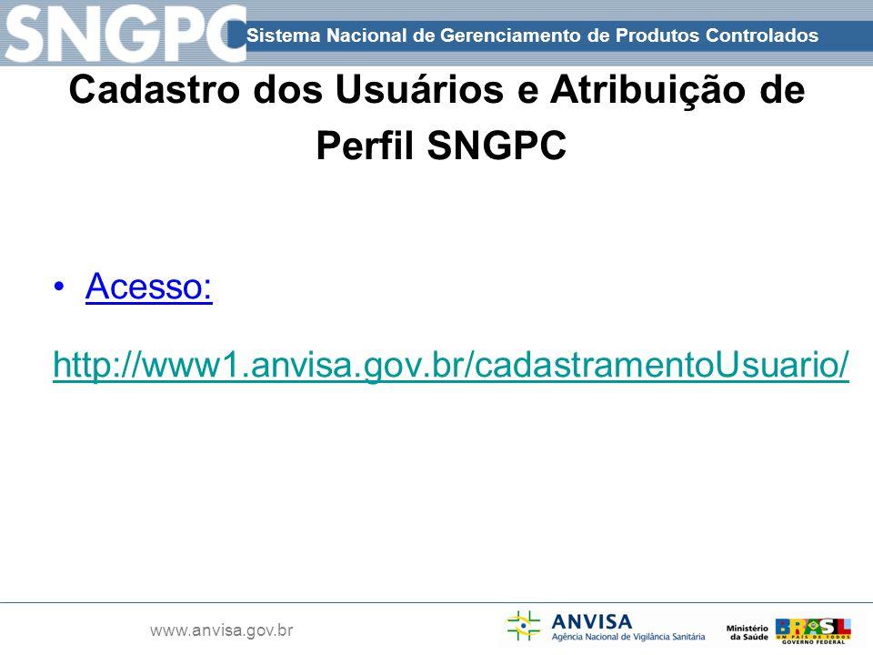 Cadastro dos Usuários e Atribuição de Perfil SNGPC