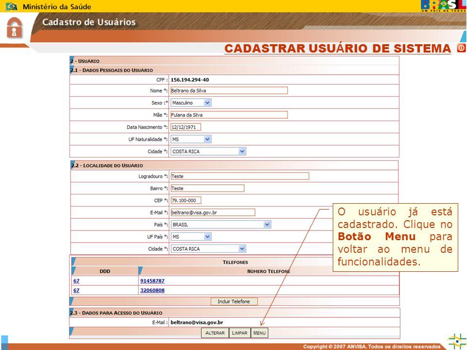 CADASTRAR USUÁRIO DE SISTEMA