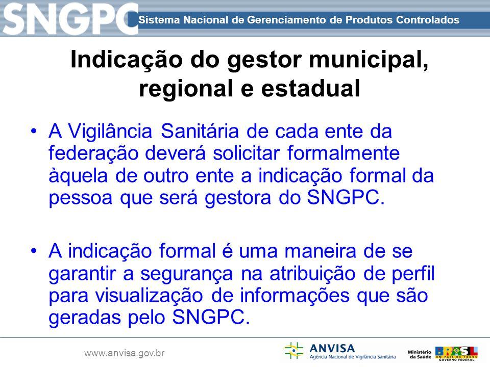Indicação do gestor municipal, regional e estadual