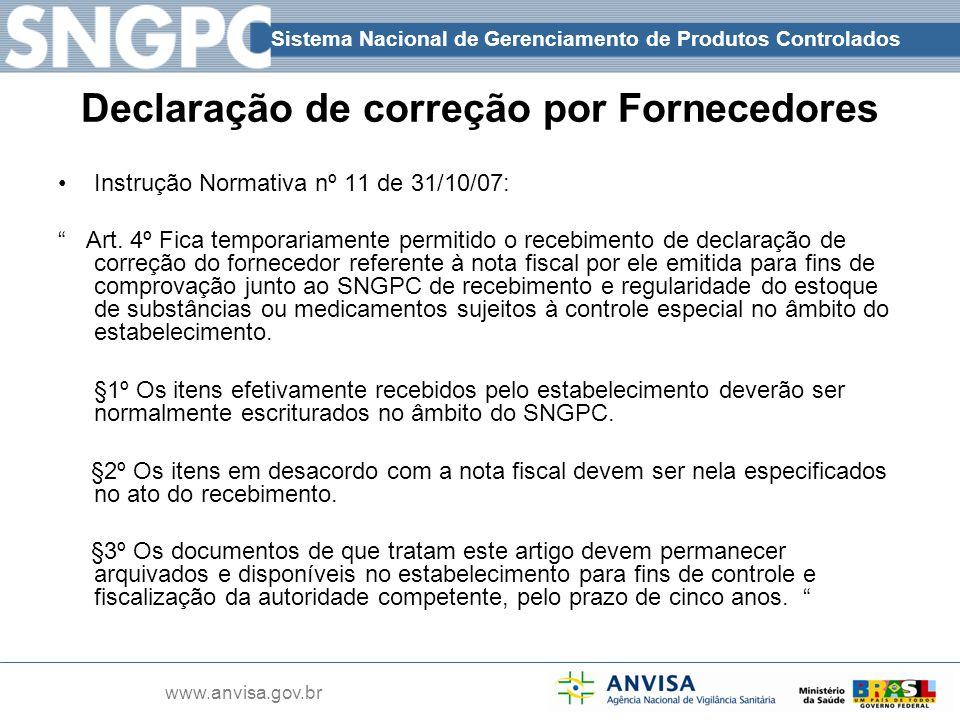 Declaração de correção por Fornecedores