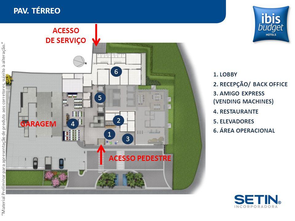 PAV. TÉRREO ACESSO DE SERVIÇO GARAGEM ACESSO PEDESTRE 6 5 2 4 1 3