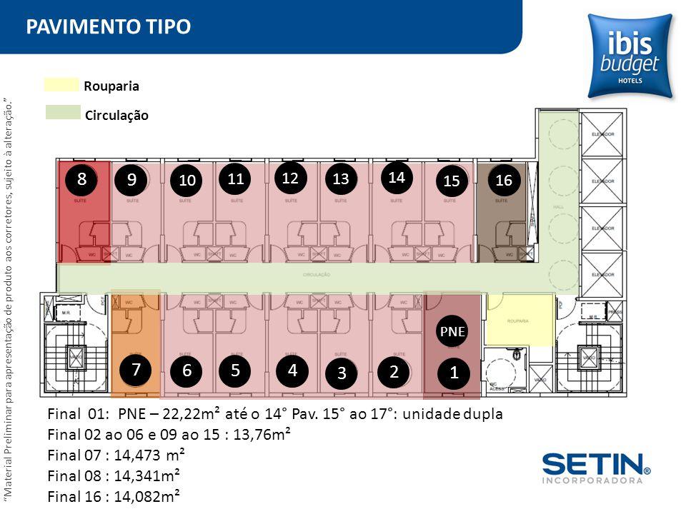 PAVIMENTO TIPO Rouparia. Circulação. 8. 9. 10. 11. 12. 13. 14. 15. 16.