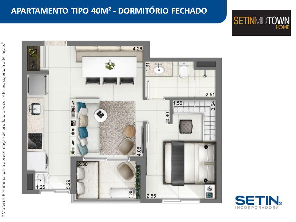 APARTAMENTO TIPO 40M² - DORMITÓRIO FECHADO