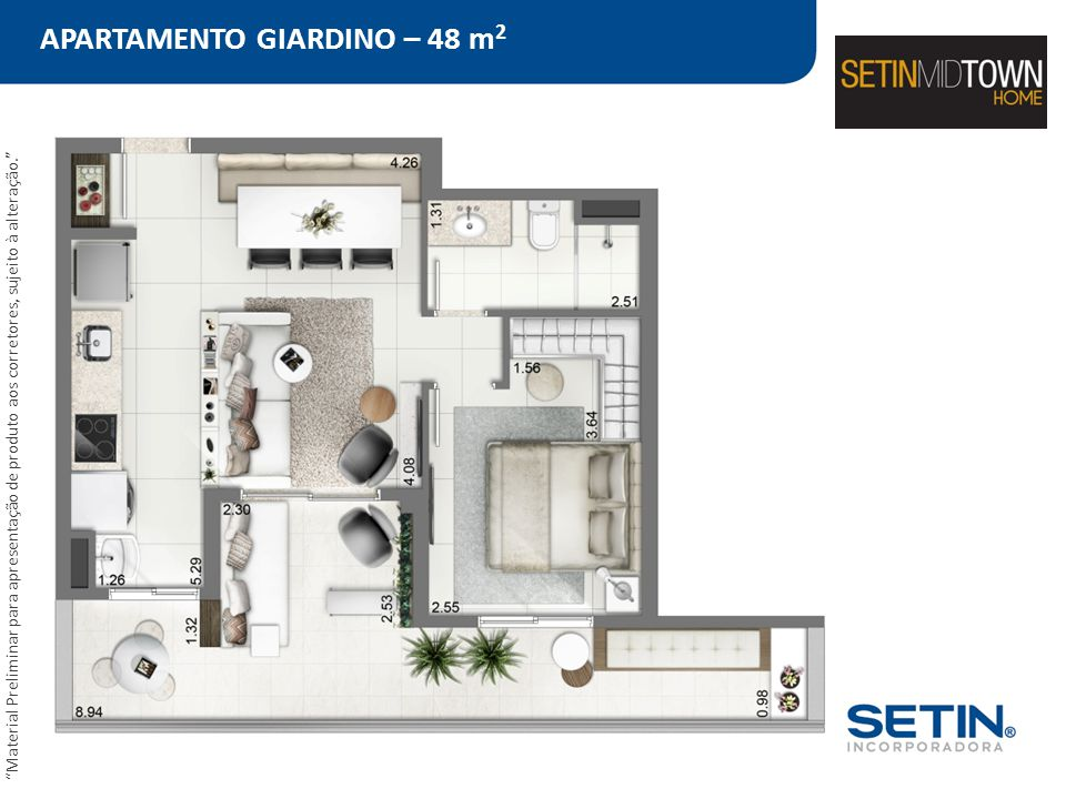 APARTAMENTO GIARDINO – 48 m2