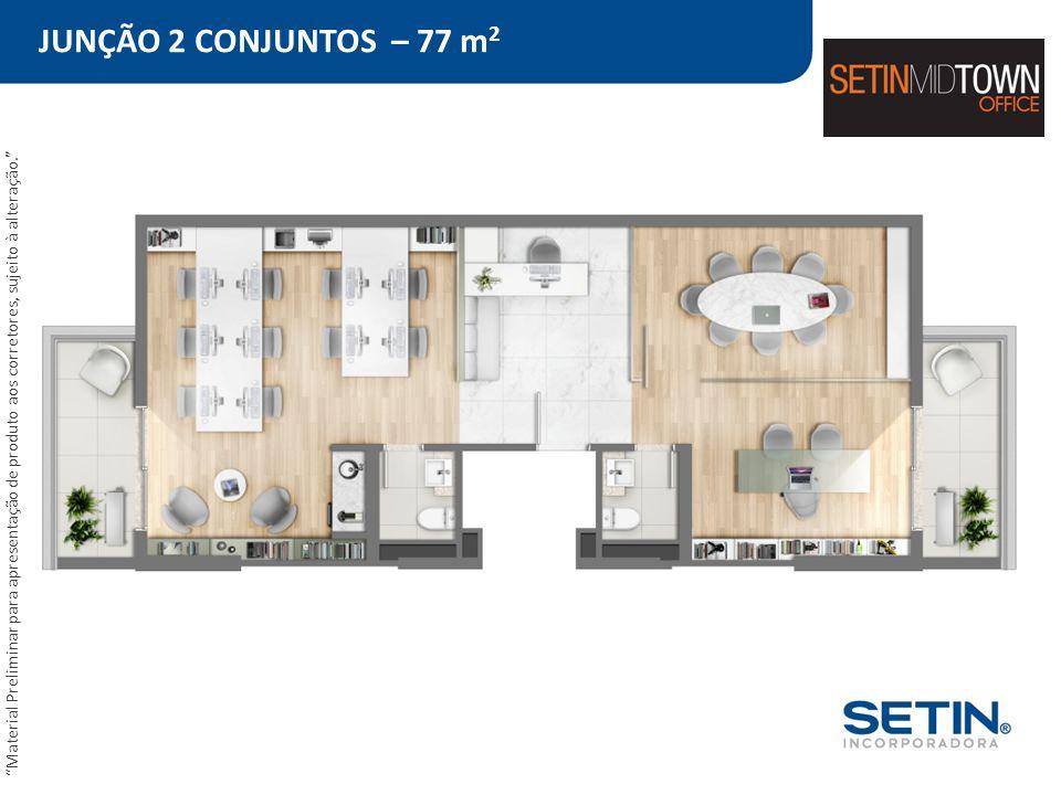 JUNÇÃO 2 CONJUNTOS – 77 m2 Material Preliminar para apresentação de produto aos corretores, sujeito à alteração.