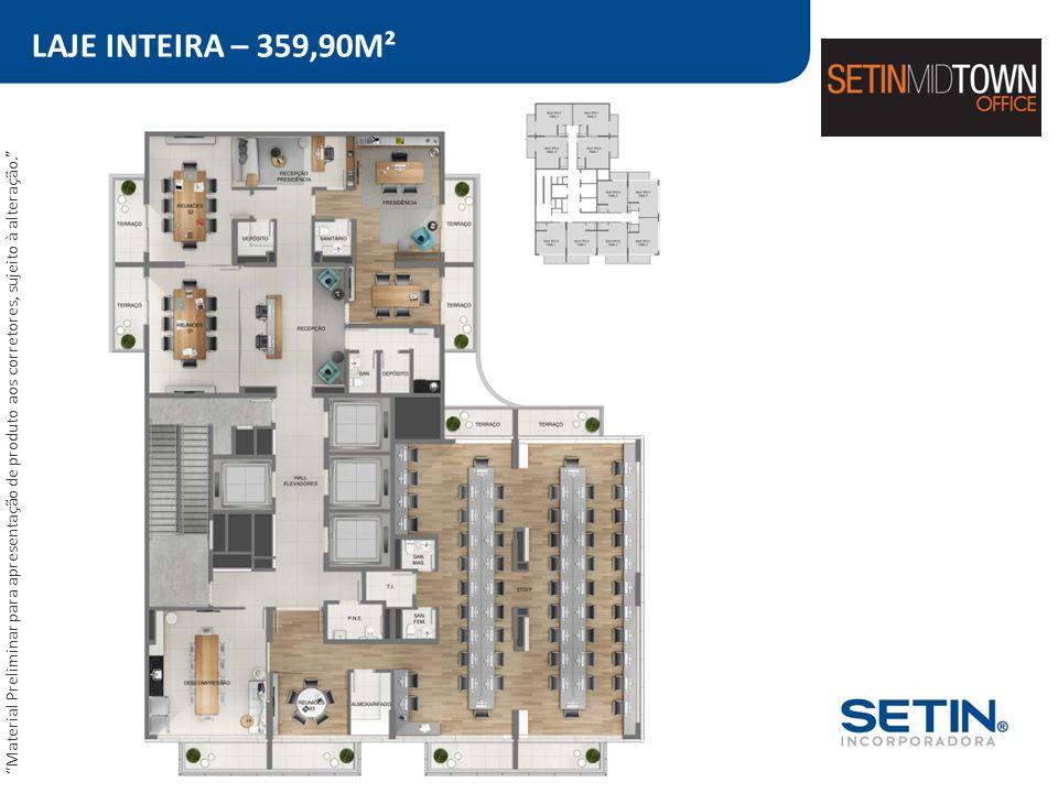 LAJE INTEIRA – 359,90M² Material Preliminar para apresentação de produto aos corretores, sujeito à alteração.