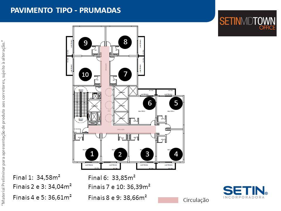 PAVIMENTO TIPO - PRUMADAS