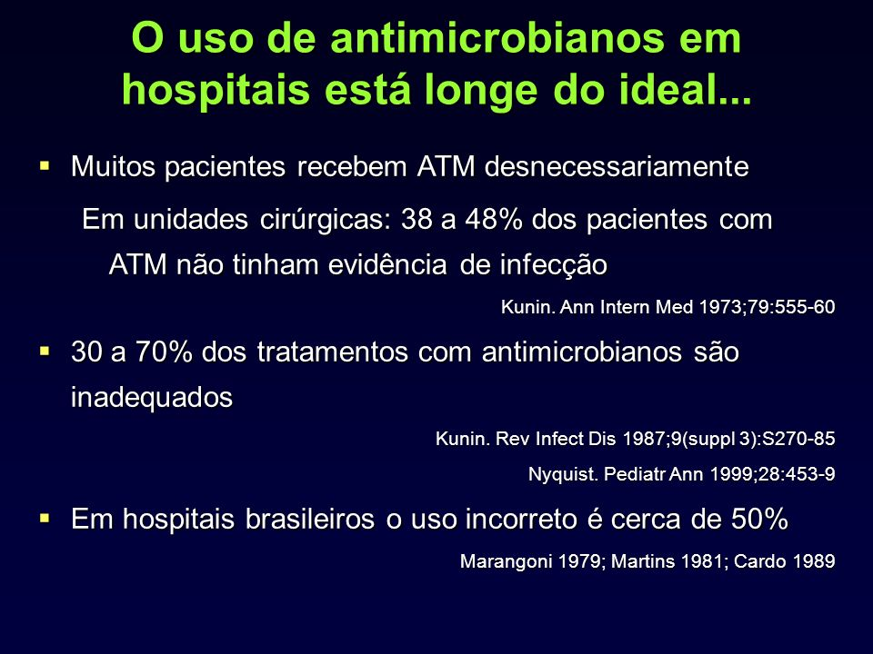 O uso de antimicrobianos em hospitais está longe do ideal...
