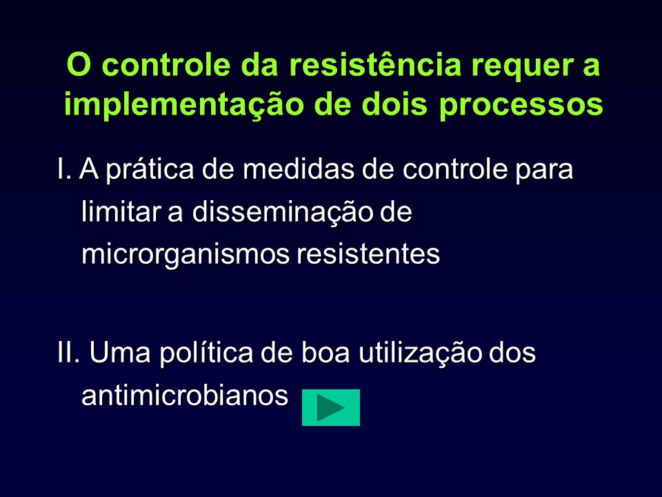 O controle da resistência requer a implementação de dois processos