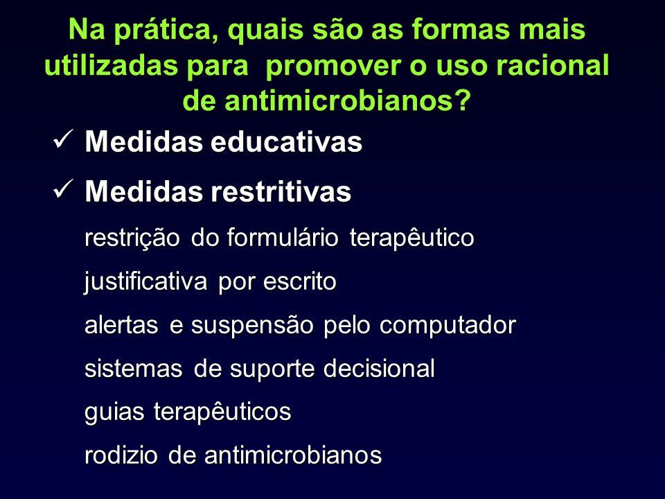 Na prática, quais são as formas mais utilizadas para promover o uso racional de antimicrobianos