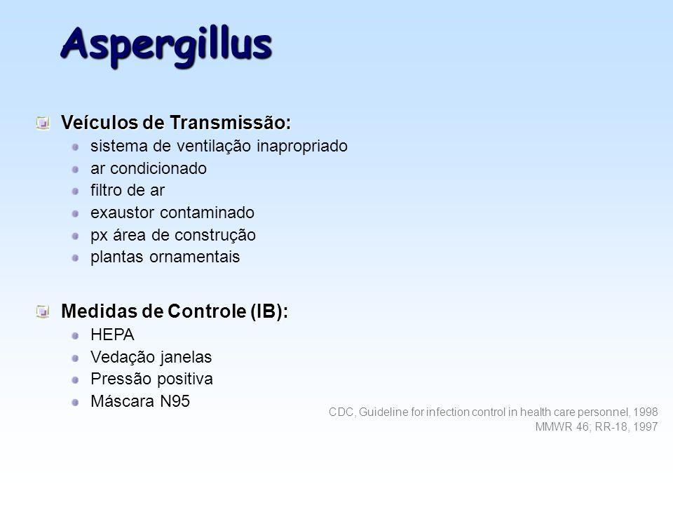Aspergillus Veículos de Transmissão: Medidas de Controle (IB):
