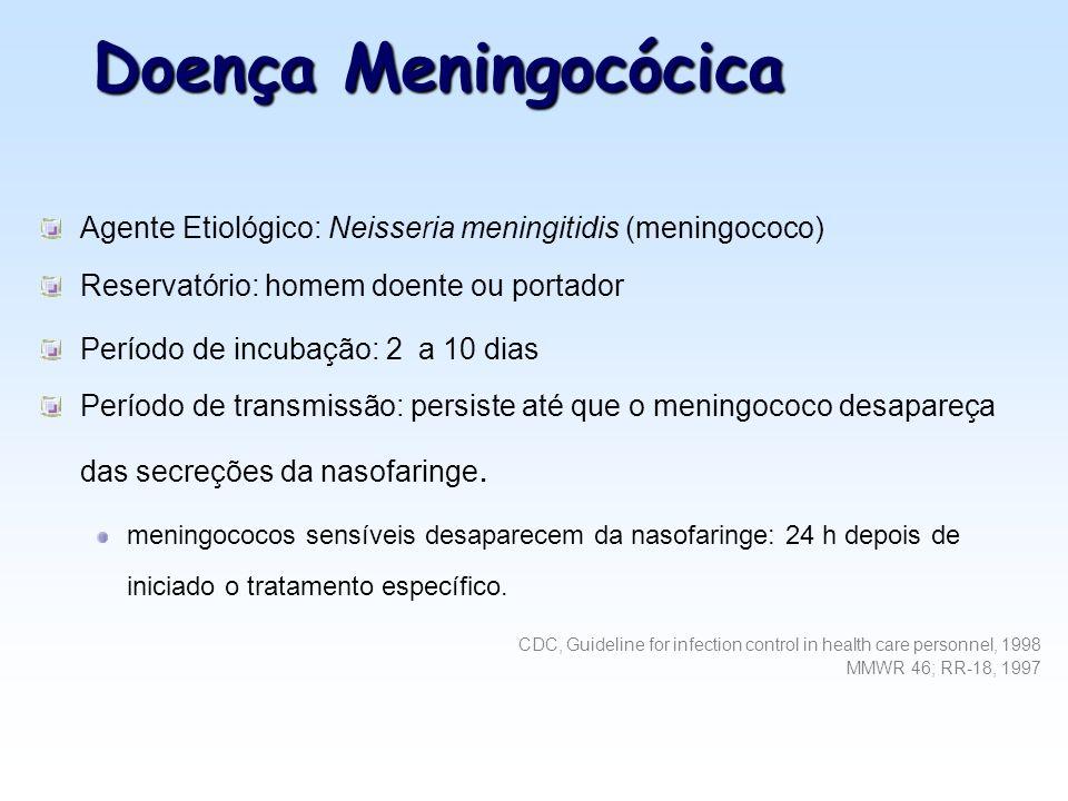 Doença Meningocócica Agente Etiológico: Neisseria meningitidis (meningococo) Reservatório: homem doente ou portador.