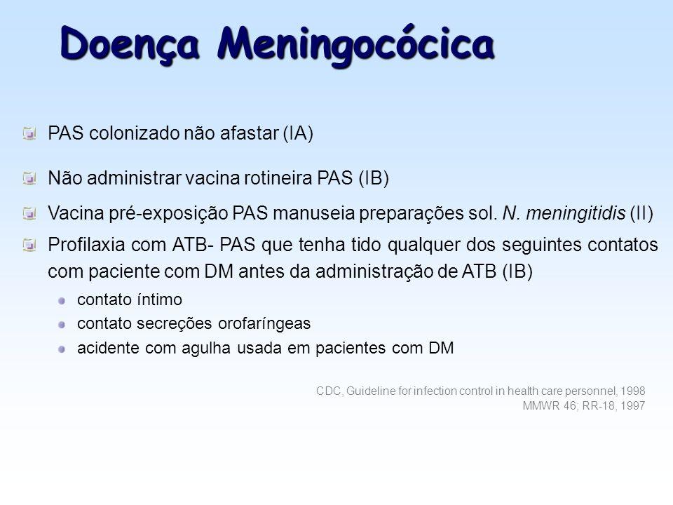 Doença Meningocócica PAS colonizado não afastar (IA)