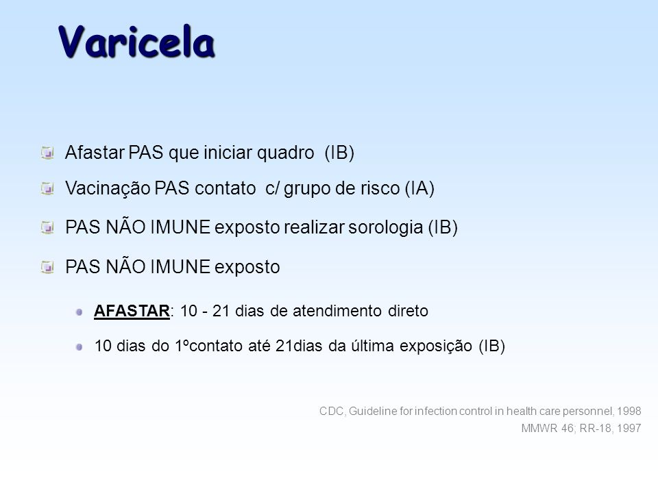 Varicela Afastar PAS que iniciar quadro (IB)