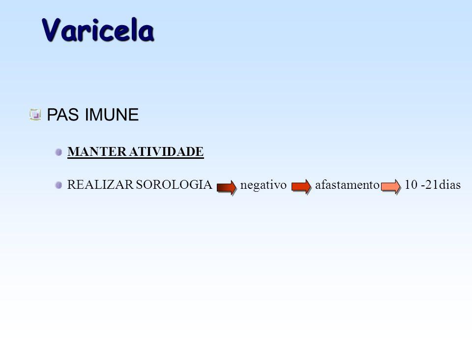 Varicela PAS IMUNE MANTER ATIVIDADE