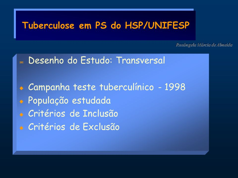 Tuberculose em PS do HSP/UNIFESP