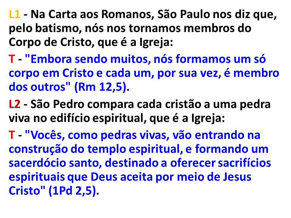 L1 - Na Carta aos Romanos, São Paulo nos diz que, pelo batismo, nós nos tornamos membros do Corpo de Cristo, que é a Igreja: T - Embora sendo muitos, nós formamos um só corpo em Cristo e cada um, por sua vez, é membro dos outros (Rm 12,5).