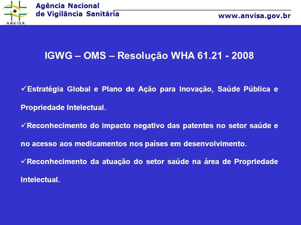 IGWG – OMS – Resolução WHA 61.21 - 2008