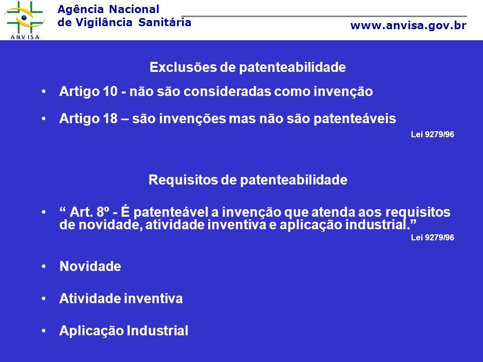 Exclusões de patenteabilidade Requisitos de patenteabilidade