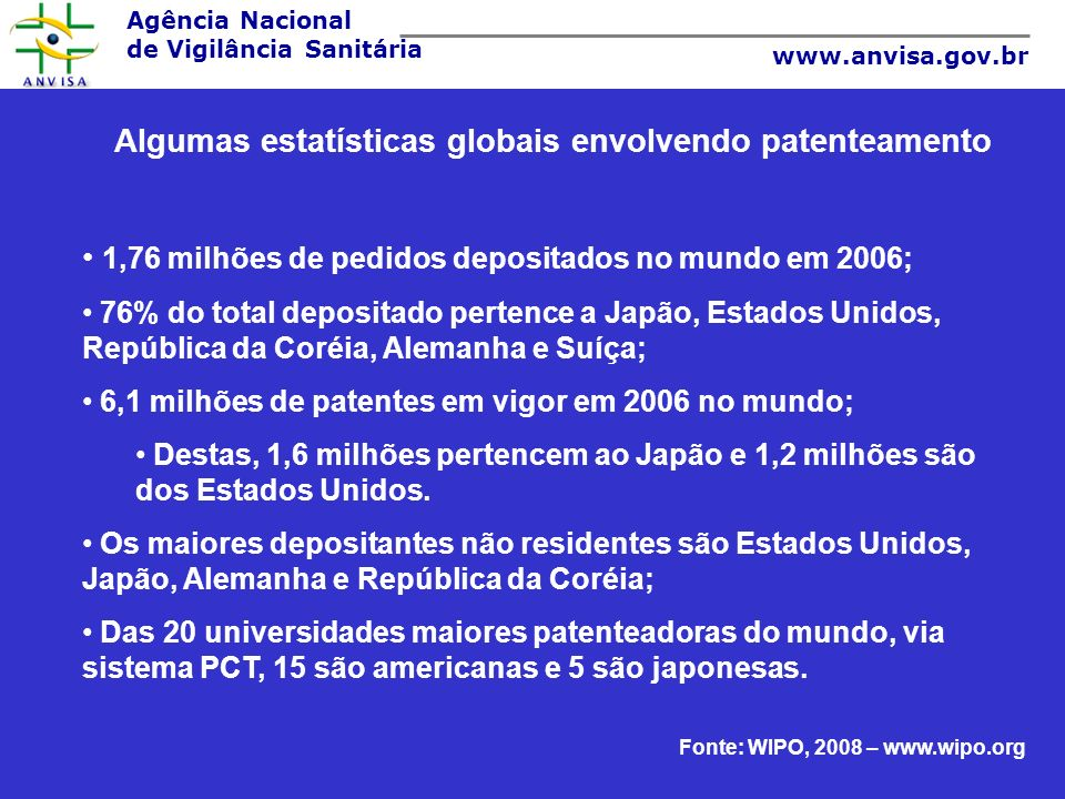 Algumas estatísticas globais envolvendo patenteamento