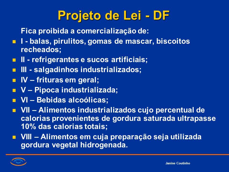 Projeto de Lei - DF Fica proibida a comercialização de: