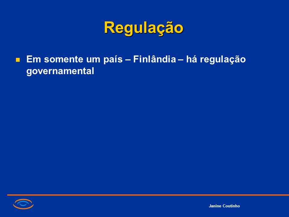 Regulação Em somente um país – Finlândia – há regulação governamental