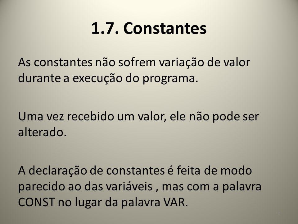 1.7. Constantes