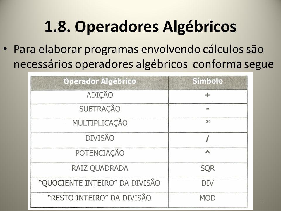 1.8. Operadores Algébricos