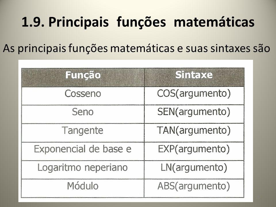 1.9. Principais funções matemáticas