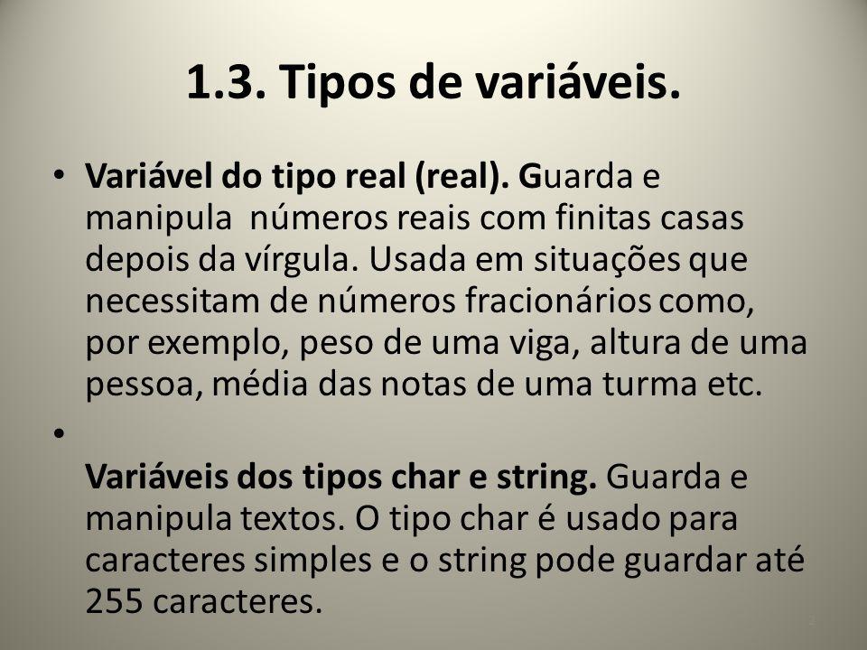 1.3. Tipos de variáveis.