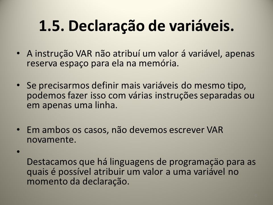 1.5. Declaração de variáveis.