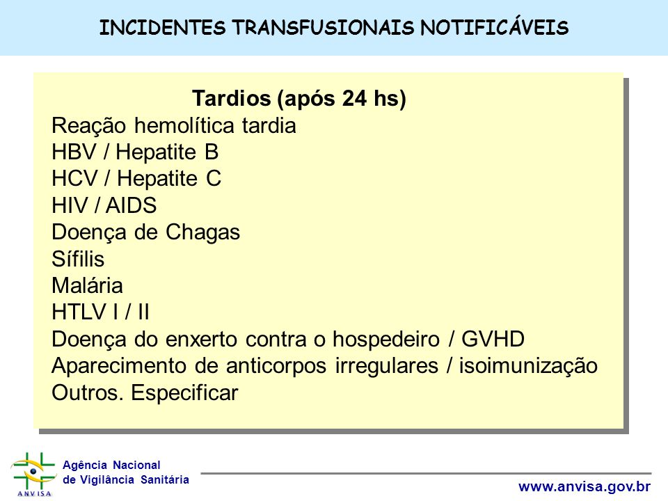 INCIDENTES TRANSFUSIONAIS NOTIFICÁVEIS