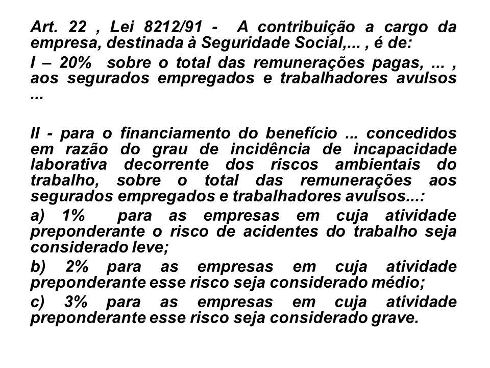 Art. 22 , Lei 8212/91 - A contribuição a cargo da empresa, destinada à Seguridade Social,... , é de: