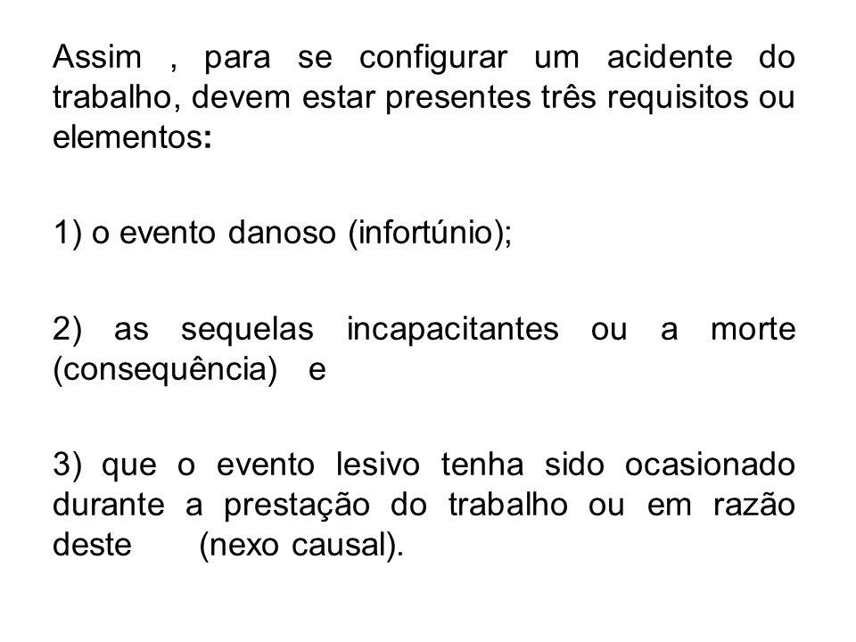Assim , para se configurar um acidente do trabalho, devem estar presentes três requisitos ou elementos: