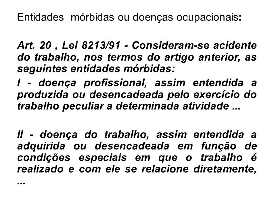 Entidades mórbidas ou doenças ocupacionais: