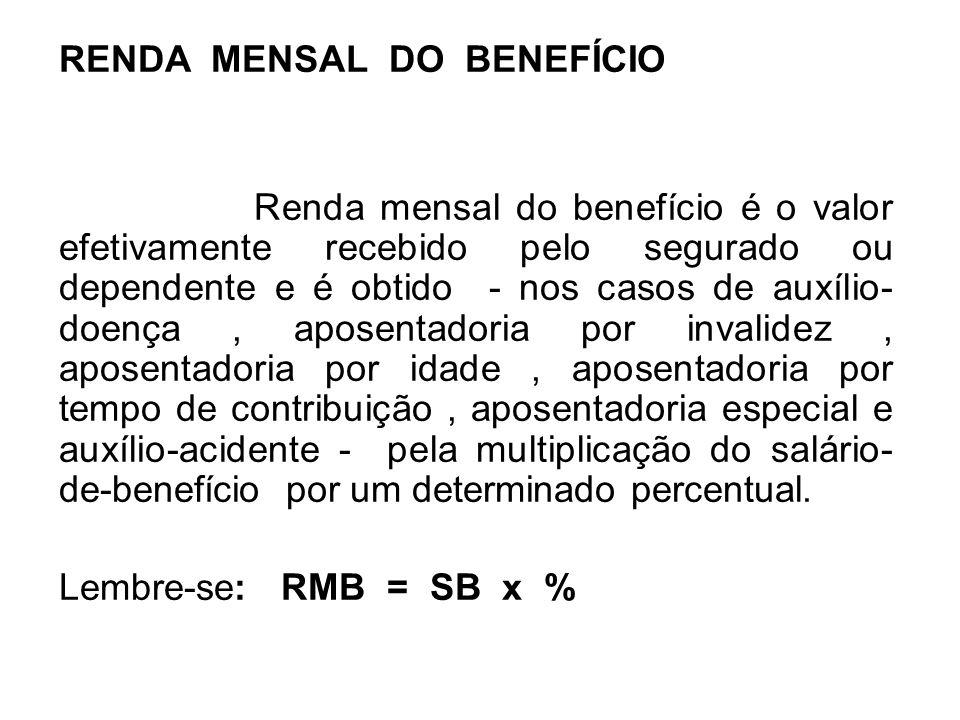 RENDA MENSAL DO BENEFÍCIO