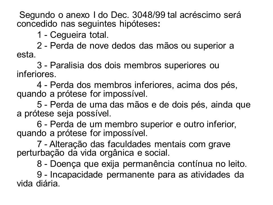 Segundo o anexo I do Dec. 3048/99 tal acréscimo será concedido nas seguintes hipóteses: