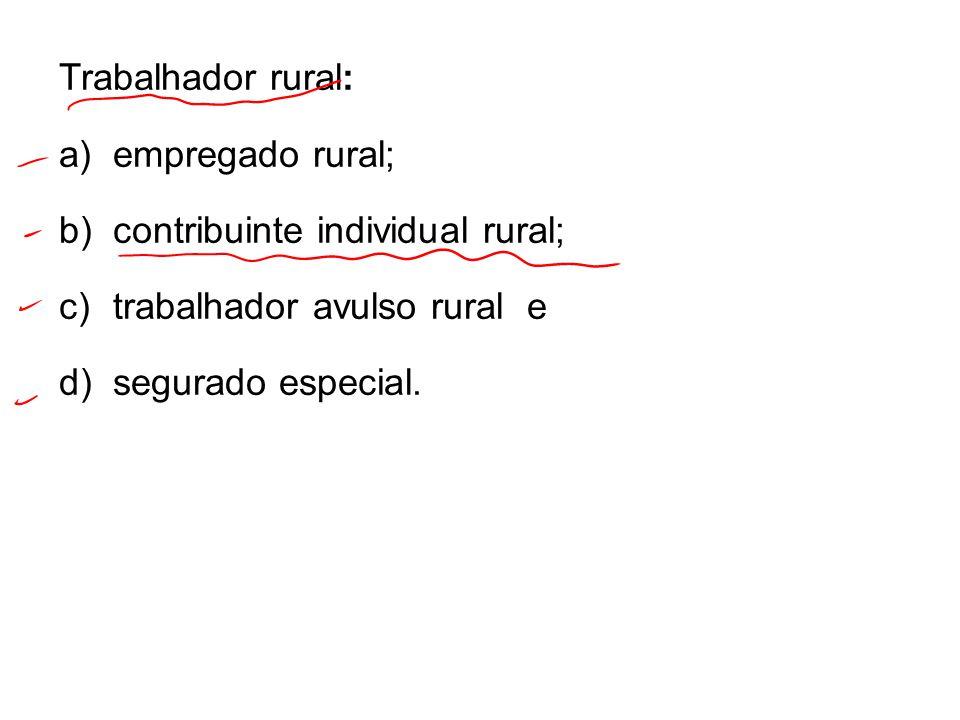 Trabalhador rural: empregado rural; contribuinte individual rural; trabalhador avulso rural e.