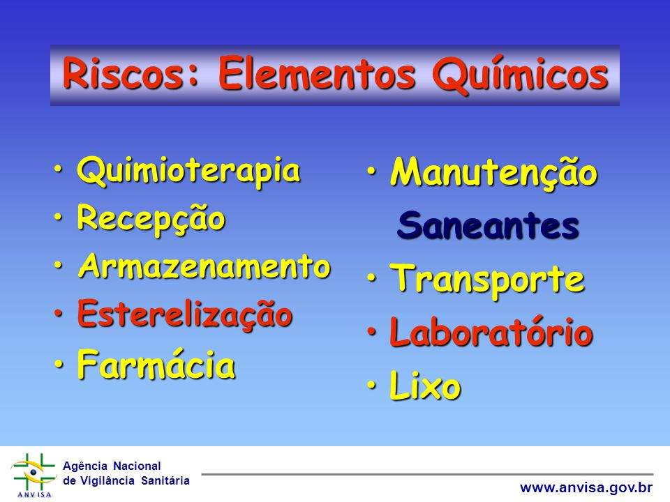 Riscos: Elementos Químicos