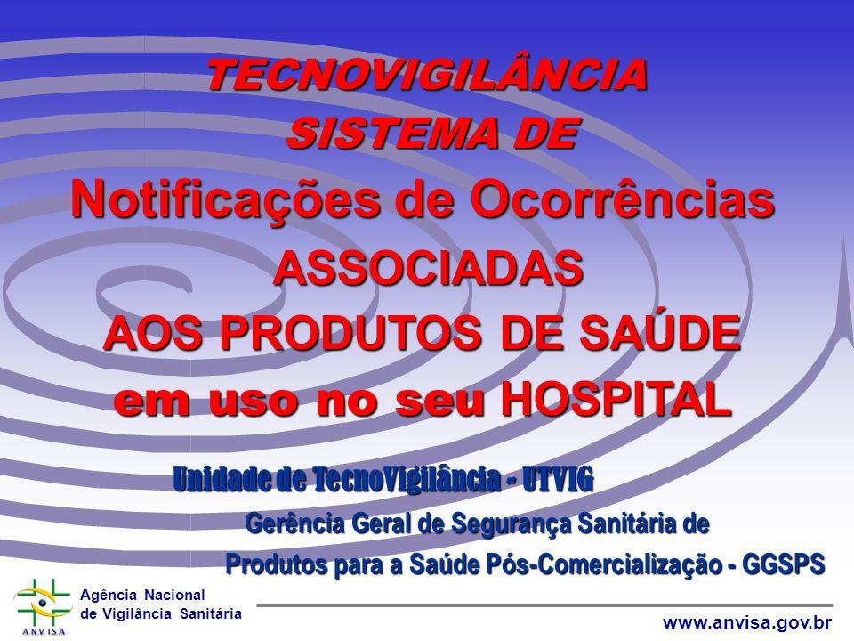 TECNOVIGILÂNCIA SISTEMA DE Notificações de Ocorrências ASSOCIADAS AOS PRODUTOS DE SAÚDE em uso no seu HOSPITAL