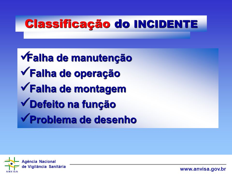 Classificação do INCIDENTE