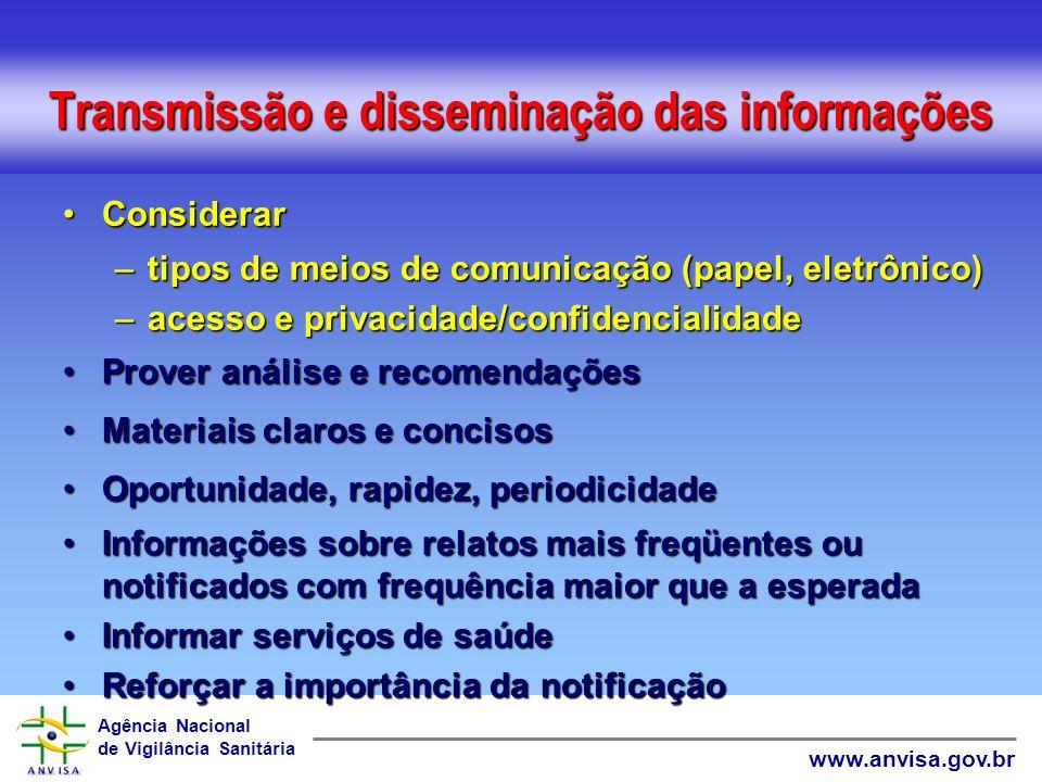 Transmissão e disseminação das informações