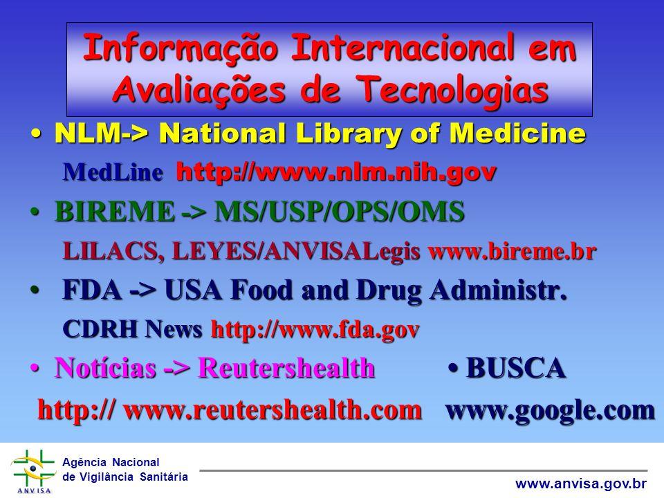 Informação Internacional em Avaliações de Tecnologias