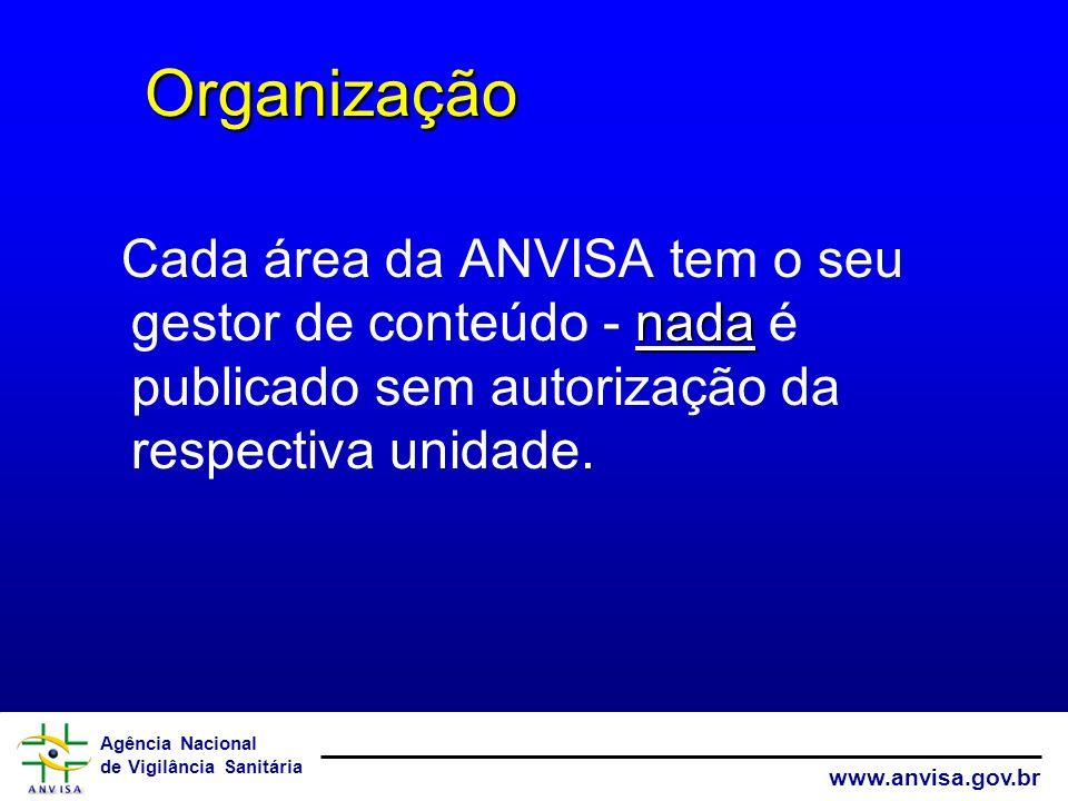 Organização Cada área da ANVISA tem o seu gestor de conteúdo - nada é publicado sem autorização da respectiva unidade.