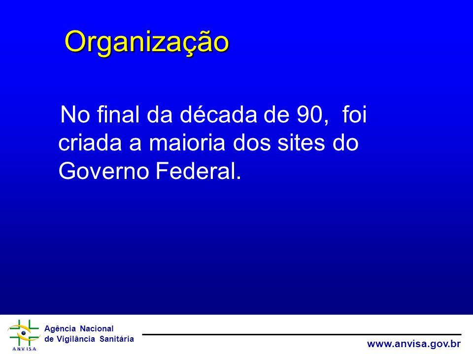Organização No final da década de 90, foi criada a maioria dos sites do Governo Federal.