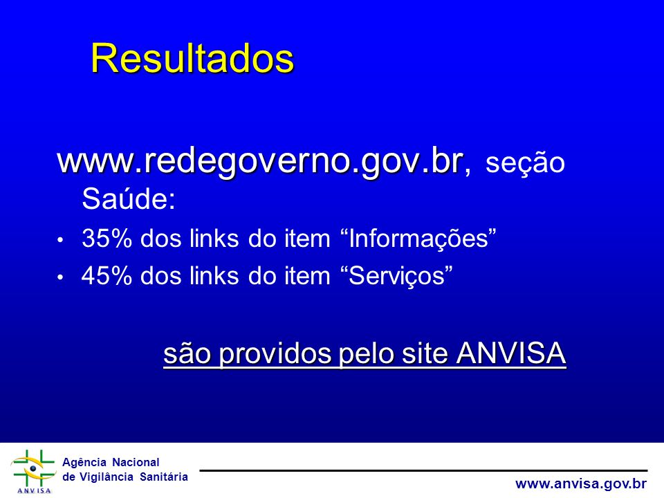 Resultados www.redegoverno.gov.br, seção Saúde: