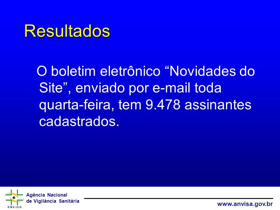Resultados O boletim eletrônico Novidades do Site , enviado por e-mail toda quarta-feira, tem 9.478 assinantes cadastrados.