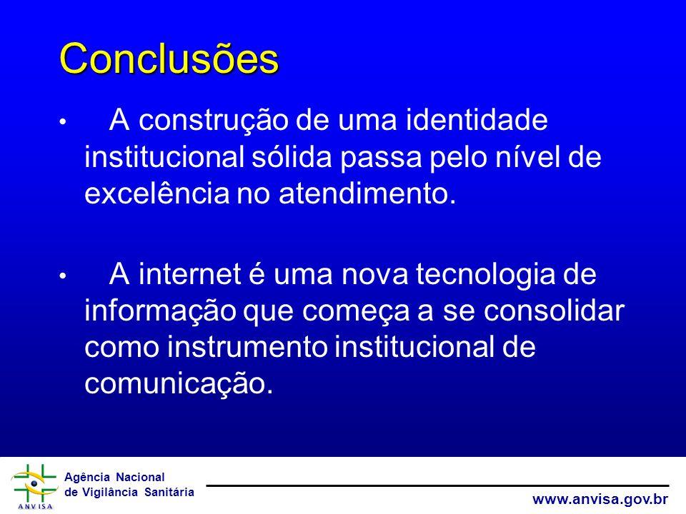Conclusões A construção de uma identidade institucional sólida passa pelo nível de excelência no atendimento.