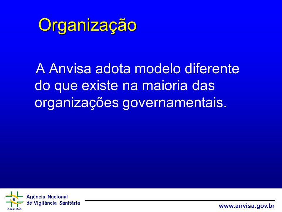 Organização A Anvisa adota modelo diferente do que existe na maioria das organizações governamentais.